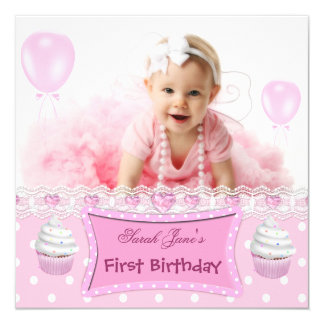 "First Birthday 1st Girl Pink Cupcakes Baby 5.25"" Square Invitation Card"