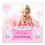 First Birthday 1st Girl Pink Cupcakes Baby Custom Announcements