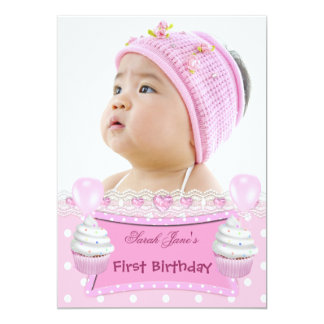 First Birthday 1st Girl Pink Cupcakes Baby 5x7 Paper Invitation Card