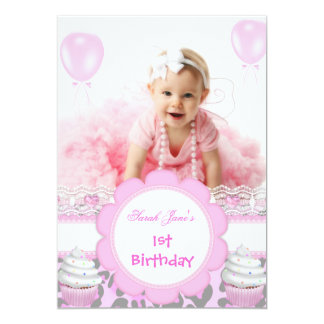 """First Birthday 1st Girl Pink Cupcakes Baby Leopard 5"""" X 7"""" Invitation Card"""