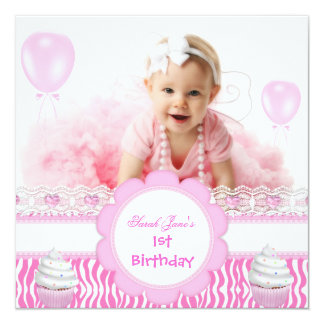 """First Birthday 1st Girl Pink Cupcakes Baby Zebra 5.25"""" Square Invitation Card"""