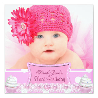 """First Birthday 1st Girl Pretty Pink Cupcakes Baby 5.25"""" Square Invitation Card"""