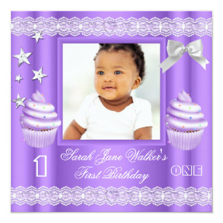 First Birthday 1st Girl Purple Cupcake Baby 5.25x5.25 Square Paper Invitation Card