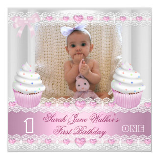 "First Birthday 1st Girl White Pink Cupcake Baby 2 5.25"" Square Invitation Card"