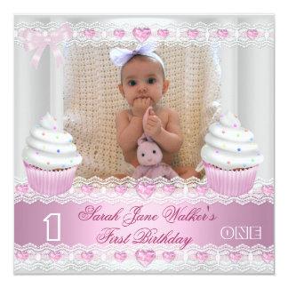 First Birthday 1st Girl White Pink Cupcake Baby 2 Custom Invite