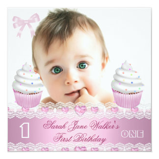 """First Birthday 1st Girl White Pink Cupcake Baby 3 5.25"""" Square Invitation Card"""