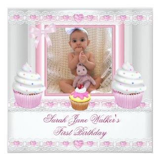"""First Birthday 1st Girl White Pink Cupcake Baby 5.25"""" Square Invitation Card"""