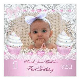 """First Birthday 1st Girl White Pink Cupcakes Baby 4 5.25"""" Square Invitation Card"""
