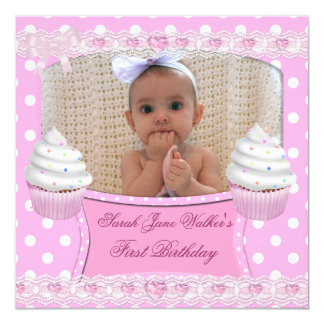 """First Birthday 1st Girl White Pink Cupcakes Baby 6 5.25"""" Square Invitation Card"""