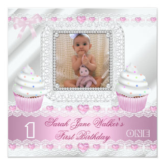 """First Birthday 1st Girl White Pink Hearts Baby 5.25"""" Square Invitation Card"""