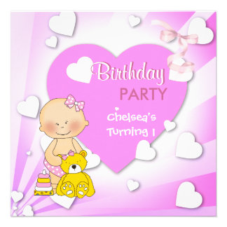 First Birthday 1st Party Cute Pink Hearts Girls 2 Invitations