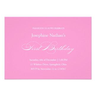 First Birthday Baby Girl Formal Invitation