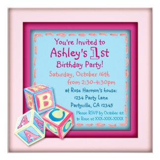 First birthday baby girls party invitations