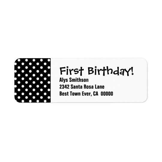 First Birthday Black Polka Dots LA18 Return Address Label