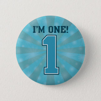 First Birthday Boy, I'm One, Big Blue Number 1 2 Inch Round Button
