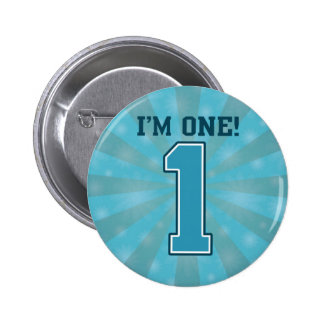 First Birthday Boy, I'm One, Big Blue Number 1 2 Inch Round Button
