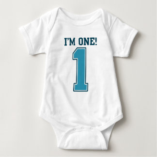 First Birthday Boy, I'm One, Big Blue Number 1 Baby Bodysuit