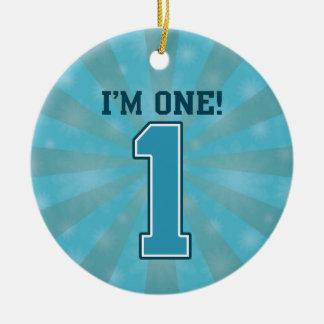 First Birthday Boy, I'm One, Big Blue Number 1 Ceramic Ornament