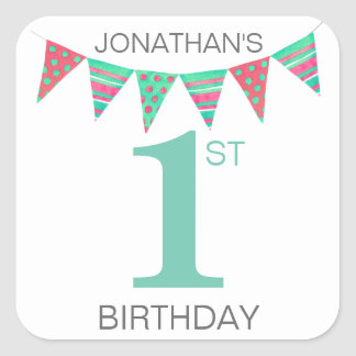 First Birthday Bunting Name Square Sticker