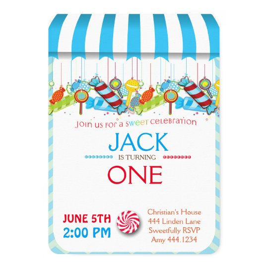 First Birthday Candyland Boy Invitations