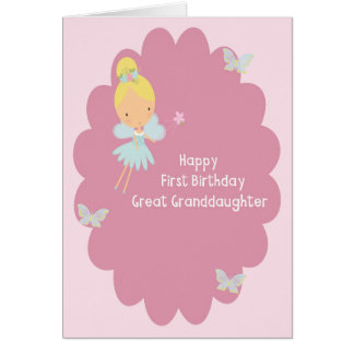 First Birthday Card for Great Granddaughter