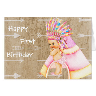 First Birthday Card for Native American Baby