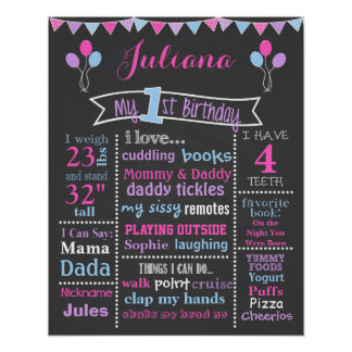 First Birthday Chalkboard Sign, Pink, Purple, Blue Poster
