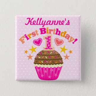 First Birthday Cupcake (Girl) 2 Inch Square Button