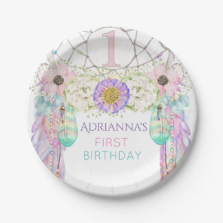 First Birthday Dream Catcher Boho Feathers Paper Plate