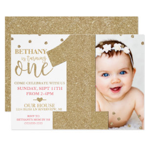 1st birthday invitations announcements zazzle ca first birthday faux gold glitter pink invitation stopboris Gallery