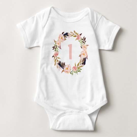 First Birthday Floral Wreath Boho Baby Bodysuit