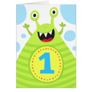 First birthday funny green monster greeting card