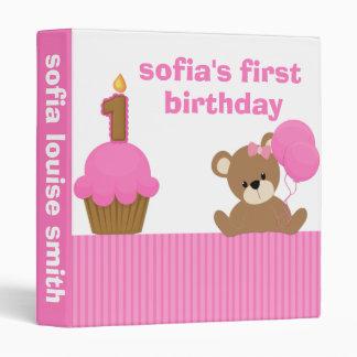 First Birthday Girl Bear Binder