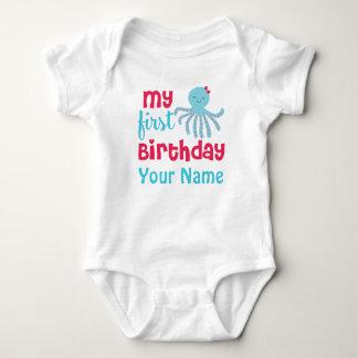 First Birthday Girl Bunny Octopus Baby Bodysuit