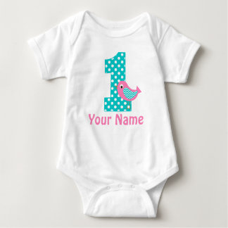 First Birthday Girl Pink Bird Baby Bodysuit