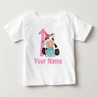 First Birthday Girl Pink Cow Baby T-Shirt