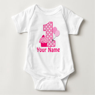 First Birthday Girl Pink Cupcake Baby Bodysuit