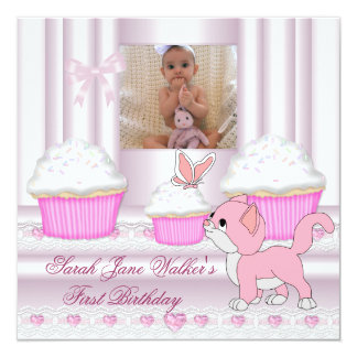 """First Birthday Girl Pink Cupcakes Baby Kitten 5.25"""" Square Invitation Card"""
