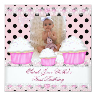 """First Birthday Girl Pink Cupcakes Black White Baby 5.25"""" Square Invitation Card"""