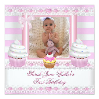 """First Birthday Girl Pink Cupcakes Stripe Baby 5.25"""" Square Invitation Card"""