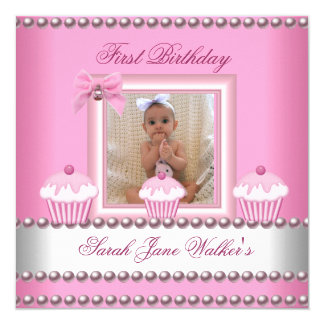 "First Birthday Girl Pink Cupcakes White Baby 5.25"" Square Invitation Card"