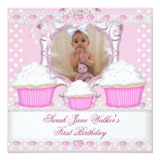 """First Birthday Girl Pink Cupcakes White Baby 5.25"""" Square Invitation Card"""