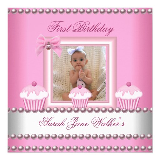 First Birthday Girl Pink Cupcakes White Baby Personalized Announcement