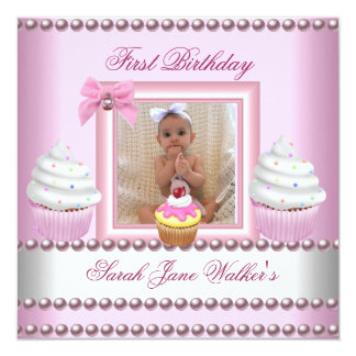 """First Birthday Girl Pink Cupcakes White Pearl Baby 5.25"""" Square Invitation Card"""
