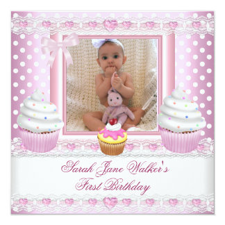 """First Birthday Girl Pink Cupcakes White Spot Baby 5.25"""" Square Invitation Card"""