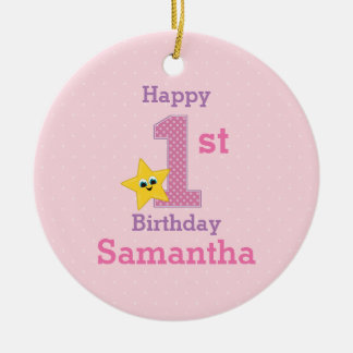 First Birthday Girl, Pink with Yellow Star Round Ceramic Ornament