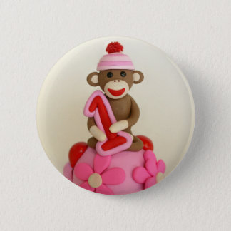 First Birthday Girl Sock Monkey Celebration 2 Inch Round Button