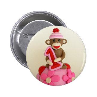 First Birthday Girl Sock Monkey Celebration 2 Inch Round Button