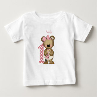 First Birthday Girl Teddy Bear with Doll T-Shirt