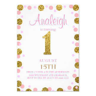 First birthday glitter invitation Girl gold glitz